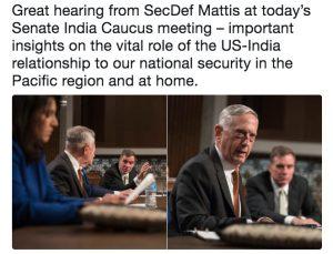 Tweet from Mark Warner on Caucus meeting with Mattis