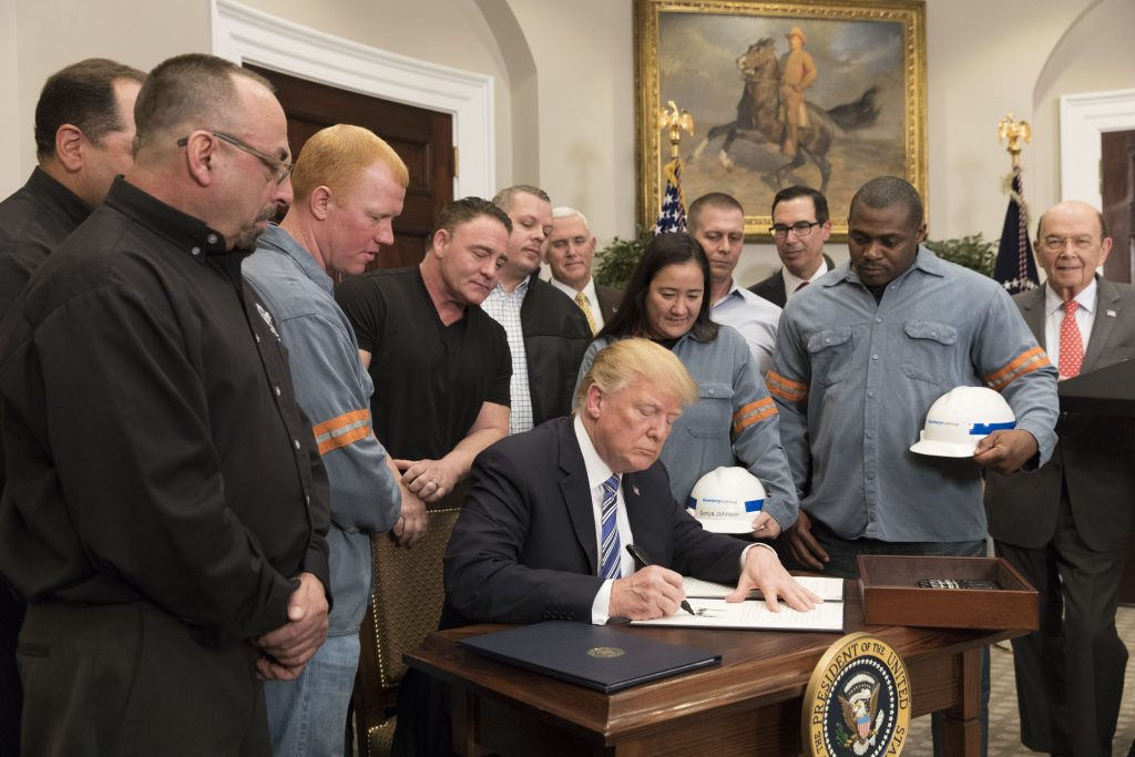 President Donald J. Trump signs the Section 232 Proclamations on Steel and Aluminum Imports