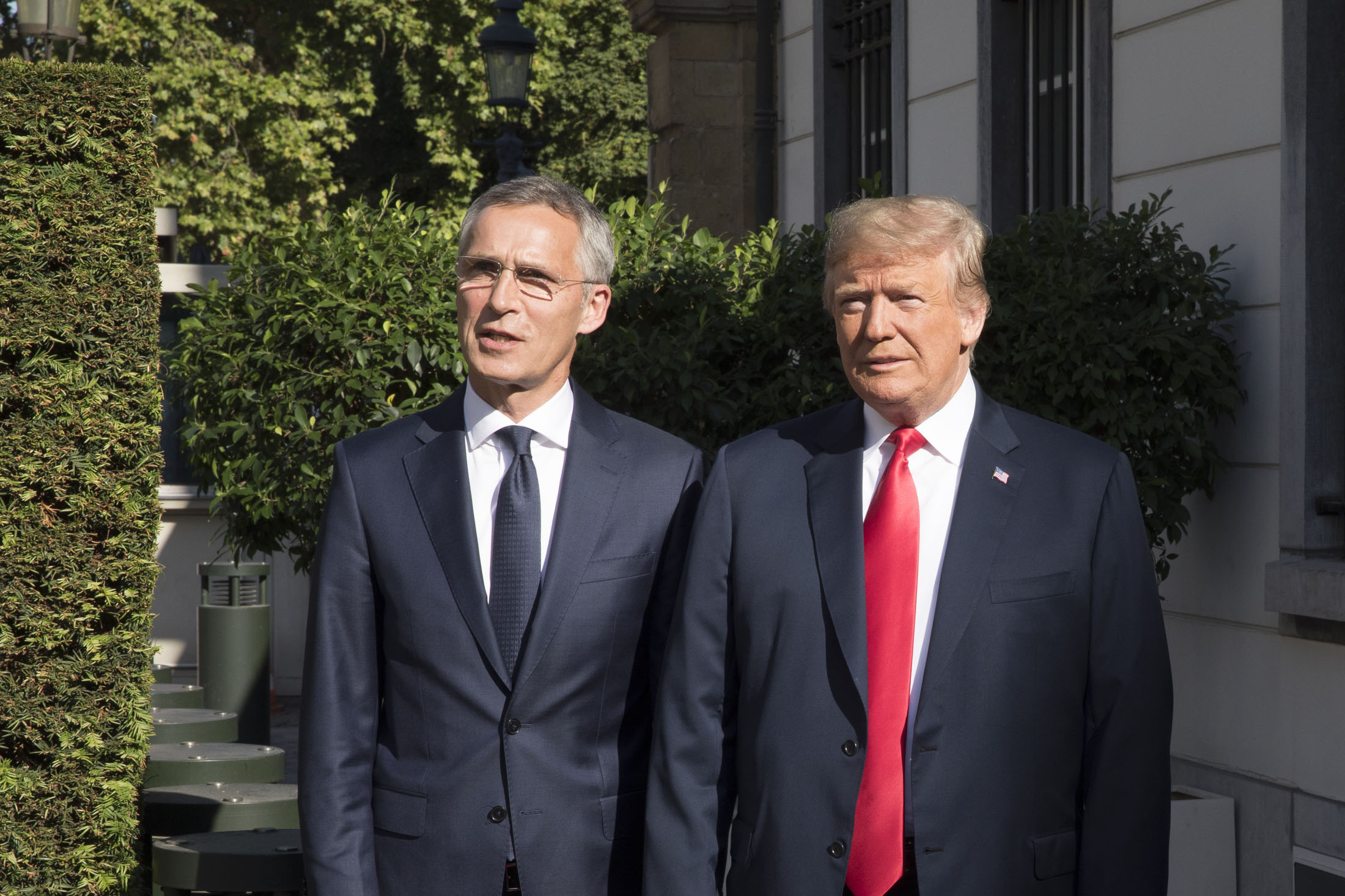Left to right: NATO Secretary General Jens Stoltenberg with US President Donald Trump