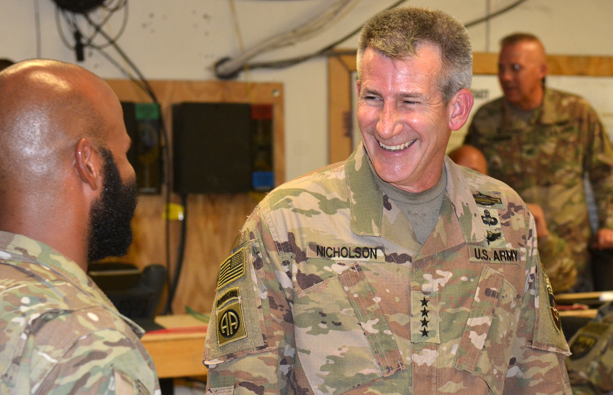 LAGHMAN PROVINCE, Afghanistan (August 09, 2018) -- U.S. Army Gen. John Nicholson, Resolute Support and U.S. Forces-Afghanistan commander visits with service members at Train, Advise and Assist Command-East, August 9, 2018. (NATO photo by Cmdr. Robert Thoms)