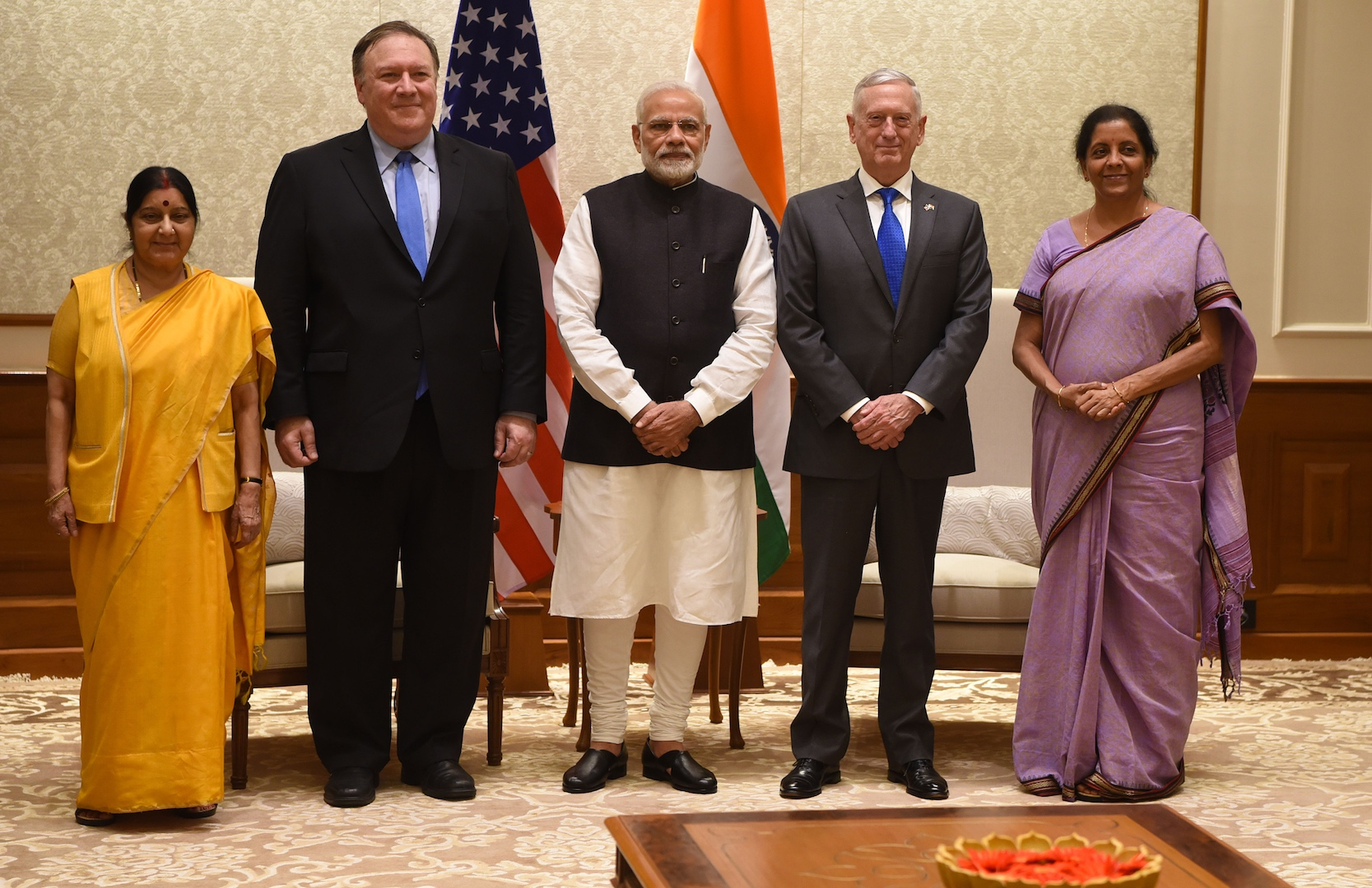 Indian Minister of External Affairs Sushma Swaraj, U.S. Secretary of State Michael Pompeo, Indian Prime Minister Narendra Modi, U.S. Defense Secretary James N. Mattis and Indian Defense Minister Nirmala Sitharaman meet at Modi's residence, New Delhi, India, Sept. 6, 2018. Mattis, Pompeo and their Indian counterparts met with Modi following the first ever U.S.-India 2+2 ministerial dialogue. DoD photo by Lisa Ferdinando