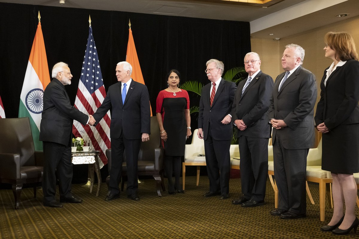 Modi Pence Handshake Singapore