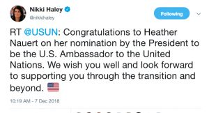 Nikki Haley tweet on Heather