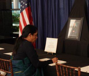 Nirmala signing Bush book