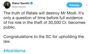 Rahul Gandhi tweet SC CBI