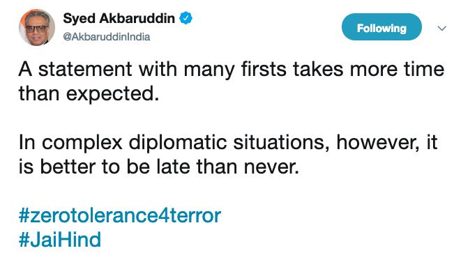 Syed tweet on UN Statement