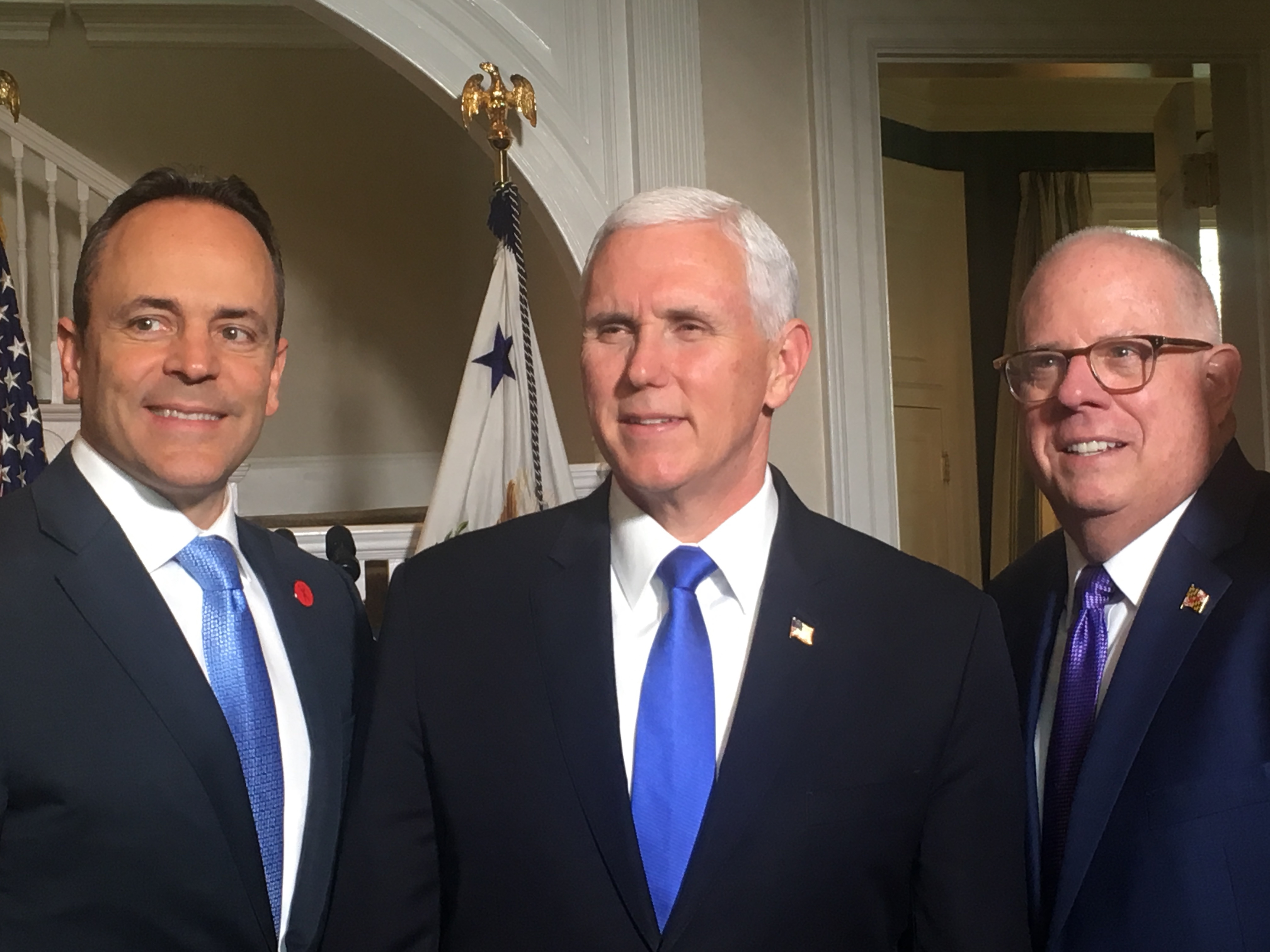 VP Pence posing with Hogan and Kentucky Gov. Matt Bevin